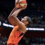 Connecticut Sun forward Alyssa Thomas (25) shoots during the WNBA Semi-Finals between the Los Angeles Sparks and the Connecticut Sun at Mohegan Sun Arena, Uncasville, Connecticut, USA on September 19, 2019. Photo Credit: Chris Poss