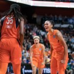 Connecticut Sun forward Alyssa Thomas (25) and Connecticut Sun guard Natisha Hiedeman (2) react to a play by Connecticut Sun center Jonquel Jones (35) during the WNBA Semi-Finals between the Los Angeles Sparks and the Connecticut Sun at Mohegan Sun Arena, Uncasville, Connecticut, USA on September 19, 2019. Photo Credit: Chris Poss