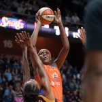 Connecticut Sun center Jonquel Jones (35) shoots during the WNBA Semi-Finals between the Los Angeles Sparks and the Connecticut Sun at Mohegan Sun Arena, Uncasville, Connecticut, USA on September 19, 2019. Photo Credit: Chris Poss