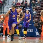 Los Angeles Sparks guard Tierra Ruffin-Pratt (10) with a steal during the WNBA Semi-Finals between the Los Angeles Sparks and the Connecticut Sun at Mohegan Sun Arena, Uncasville, Connecticut, USA on September 19, 2019. Photo Credit: Chris Poss