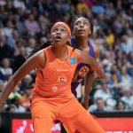 Connecticut Sun center Jonquel Jones (35) and Los Angeles Sparks forward Nneka Ogwumike (30) battle for rebounding position during the WNBA Semi-Finals between the Los Angeles Sparks and the Connecticut Sun at Mohegan Sun Arena, Uncasville, Connecticut, USA on September 19, 2019. Photo Credit: Chris Poss