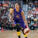 Los Angeles Sparks forward Candace Parker (3) during the WNBA Semi-Finals between the Los Angeles Sparks and the Connecticut Sun at Mohegan Sun Arena, Uncasville, Connecticut, USA on September 19, 2019. Photo Credit: Chris Poss