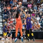 Connecticut Sun center Jonquel Jones (35) shoots over Los Angeles Sparks forward Candace Parker (3) during the WNBA Semi-Finals between the Los Angeles Sparks and the Connecticut Sun at Mohegan Sun Arena, Uncasville, Connecticut, USA on September 19, 2019. Photo Credit: Chris Poss