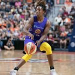 Los Angeles Sparks guard Chelsea Gray (12) passes the ball during the WNBA Semi-Finals between the Los Angeles Sparks and the Connecticut Sun at Mohegan Sun Arena, Uncasville, Connecticut, USA on September 19, 2019. Photo Credit: Chris Poss