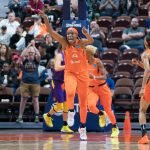 Connecticut Sun center Jonquel Jones (35) during the WNBA Semi-Finals between the Los Angeles Sparks and the Connecticut Sun at Mohegan Sun Arena, Uncasville, Connecticut, USA on September 19, 2019. Photo Credit: Chris Poss