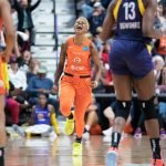 Connecticut Sun guard Courtney Williams (10) reacts after making a 3-point shot during the WNBA Semi-Finals between the Los Angeles Sparks and the Connecticut Sun at Mohegan Sun Arena, Uncasville, Connecticut, USA on September 19, 2019. Photo Credit: Chris Poss