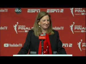 Cathy Engelbert addresses the media before WNBA Finals Game 1 Sunday. NBAE/Getty Images photo.