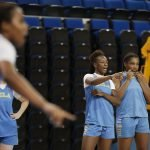 October 29, 2019 - Michaela Onyenwere and Lauryn Miller talk during the UCLA Bruins women's basketball team  preseason practice at Pauley Pavilion in Los Angeles, California. Maria Noble/WomensHoopsWorld
