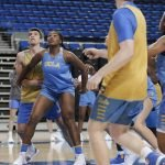October 29, 2019 - Lauryn Miller boxes out at the UCLA Bruins women's basketball team preseason practice at Pauley Pavilion in Los Angeles, California. Maria Noble/WomensHoopsWorld