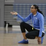 October 29, 2019 - Assistant coach Shannon Perry makes a correction at the UCLA Bruins women's basketball team preseason practice at Pauley Pavilion in Los Angeles, California. Maria Noble/WomensHoopsWorld