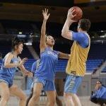 October 29, 2019 - Jaden Owens defends at the UCLA Bruins women's basketball team preseason practice at Pauley Pavilion in Los Angeles, California. Maria Noble/WomensHoopsWorld