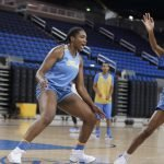 October 29, 2019 - Lauryn Miller talks on defense at the UCLA Bruins women's basketball team preseason practice at Pauley Pavilion in Los Angeles, California. Maria Noble/WomensHoopsWorld