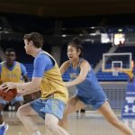 October 29, 2019 - Natalie Chou defends a practice player at the UCLA Bruins women's basketball team preseason practice at Pauley Pavilion in Los Angeles, California. Maria Noble/WomensHoopsWorld