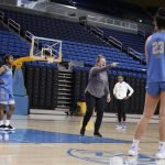 October 29, 2019 - Coach Cori Close makes a point at the UCLA Bruins women's basketball team  preseason practice at Pauley Pavilion in Los Angeles, California. Maria Noble/WomensHoopsWorld