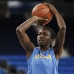 October 29, 2019 - Kayla Owens during the UCLA Bruins women's basketball team preseason practice at Pauley Pavilion in Los Angeles, California. Maria Noble/WomensHoopsWorld
