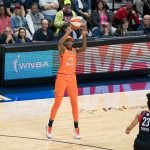 Connecticut Sun center Jonquel Jones (35) shoots during Game 3 of the WNBA finals between the Washington Mystics and the Connecticut Sun at Mohegan Sun Arena, Uncasville, CT, USA on October 06, 2019. Photo Credit: Chris Poss