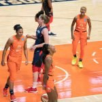 Connecticut Sun guard Bria Holmes (32) and Connecticut Sun guard Courtney Williams (10) react to an and-one call during Game 3 of the WNBA finals between the Washington Mystics and the Connecticut Sun at Mohegan Sun Arena, Uncasville, CT, USA on October 06, 2019. Photo Credit: Chris Poss