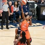 Connecticut Sun guard Bria Holmes (32) shoots during Game 3 of the WNBA finals between the Washington Mystics and the Connecticut Sun at Mohegan Sun Arena, Uncasville, CT, USA on October 06, 2019. Photo Credit: Chris Poss