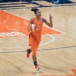 Connecticut Sun forward Alyssa Thomas (25) during Game 3 of the WNBA finals between the Washington Mystics and the Connecticut Sun at Mohegan Sun Arena, Uncasville, CT, USA on October 06, 2019. Photo Credit: Chris Poss