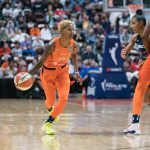 Connecticut Sun guard Courtney Williams (10) during Game 3 of the WNBA finals between the Washington Mystics and the Connecticut Sun at Mohegan Sun Arena, Uncasville, CT, USA on October 06, 2019. Photo Credit: Chris Poss