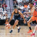 Washington Mystics guard Natasha Cloud (9) during Game 3 of the WNBA finals between the Washington Mystics and the Connecticut Sun at Mohegan Sun Arena, Uncasville, CT, USA on October 06, 2019. Photo Credit: Chris Poss