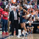 Washington Mystics Head Coach Mike Thibault and Washington Mystics guard Natasha Cloud (9) during Game 3 of the WNBA finals between the Washington Mystics and the Connecticut Sun at Mohegan Sun Arena, Uncasville, CT, USA on October 06, 2019. Photo Credit: Chris Poss