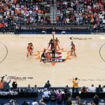 Tip-off during Game 3 of the WNBA finals between the Washington Mystics and the Connecticut Sun at Mohegan Sun Arena, Uncasville, CT, USA on October 06, 2019. Photo Credit: Chris Poss