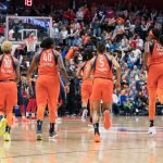 Connecticut Sun guard Courtney Williams (10) Connecticut Sun guard Shekinna Stricklen (40) Connecticut Sun forward Alyssa Thomas (25) Connecticut Sun guard Jasmine Thomas (5) and Connecticut Sun center Jonquel Jones (35) during Game 4 of the WNBA finals between the Washington Mystics and the Connecticut Sun at Mohegan Sun Arena, Uncasville, CT, USA on October 08, 2019. Photo Credit: Chris Poss