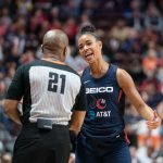 Washington Mystics guard Natasha Cloud (9) talks with an official during Game 4 of the WNBA finals between the Washington Mystics and the Connecticut Sun at Mohegan Sun Arena, Uncasville, CT, USA on October 08, 2019. Photo Credit: Chris Poss