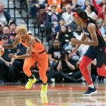 Connecticut Sun guard Courtney Williams (10) during Game 4 of the WNBA finals between the Washington Mystics and the Connecticut Sun at Mohegan Sun Arena, Uncasville, CT, USA on October 08, 2019. Photo Credit: Chris Poss