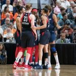 The Washington Mystics during Game 4 of the WNBA finals between the Washington Mystics and the Connecticut Sun at Mohegan Sun Arena, Uncasville, CT, USA on October 08, 2019. Photo Credit: Chris Poss