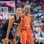 Washington Mystics guard Natasha Cloud (9) and Connecticut Sun guard Courtney Williams (10) during Game 4 of the WNBA finals between the Washington Mystics and the Connecticut Sun at Mohegan Sun Arena, Uncasville, CT, USA on October 08, 2019. Photo Credit: Chris Poss