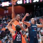 Connecticut Sun forward Alyssa Thomas (25) shoots during Game 4 of the WNBA finals between the Washington Mystics and the Connecticut Sun at Mohegan Sun Arena, Uncasville, CT, USA on October 08, 2019. Photo Credit: Chris Poss