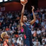 Washington Mystics Shatori Walker-Kimbrough (32) shoots during Game 4 of the WNBA finals between the Washington Mystics and the Connecticut Sun at Mohegan Sun Arena, Uncasville, CT, USA on October 08, 2019. Photo Credit: Chris Poss