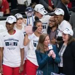 Washington Mystics guard Natasha Cloud (9) holds the championship trophy after Game 5 of the WNBA finals between the Connecticut Sun and the Washington Mystics at Entertainment and Sports Arena, Washington, DC, USA on October 10, 2019. Photo Credit: Chris Poss