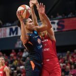 Connecticut Sun forward Alyssa Thomas (25) shoots during Game 5 of the WNBA finals between the Connecticut Sun and the Washington Mystics at Entertainment and Sports Arena, Washington, DC, USA on October 10, 2019. Photo Credit: Chris Poss