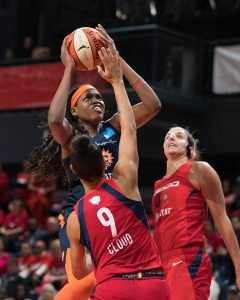 Connecticut Sun center Jonquel Jones (35) shoots during Game 5 of the WNBA finals between the Connecticut Sun and the Washington Mystics at Entertainment and Sports Arena, Washington, DC, USA on October 10, 2019. Photo Credit: Chris Poss