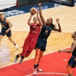 Washington Mystics forward Elena Delle Donne (11) shoots during Game 5 of the WNBA finals between the Connecticut Sun and the Washington Mystics at Entertainment and Sports Arena, Washington, DC, USA on October 10, 2019. Photo Credit: Chris Poss