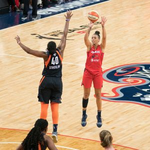 Washington Mystics guard Natasha Cloud (9) shoots during Game 5 of the WNBA finals between the Connecticut Sun and the Washington Mystics at Entertainment and Sports Arena, Washington, DC, USA on October 10, 2019. Photo Credit: Chris Poss