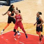 Washington Mystics Kristi Toliver (20) shoots during Game 5 of the WNBA finals between the Connecticut Sun and the Washington Mystics at Entertainment and Sports Arena, Washington, DC, USA on October 10, 2019. Photo Credit: Chris Poss