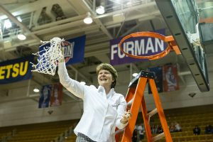 Coach Susie Gardner celebrates Mercer's win of last year's Southland Conference Championship. Photo courtesy of Mercer Athletics.