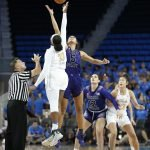 The ball is tipped for UCLA vs. Weber State. Maria Noble/WomensHoopsWorld