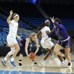 The Wildcats try to slip by the Bruin defense. Maria Noble/WomensHoopsWorld