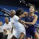 Michaela Onyenwere boxes out her defender. Maria Noble/WomensHoopsWorld