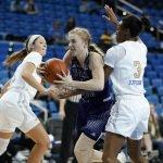 Kiara Jefferson defends the possession. Maria Noble/WomensHoopsWorld