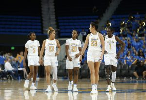 Kiara Jefferson, Jaden Owens, Charisma Osborne, Natalie Chou and Kayla Owens at UCLA vs. Weber State. Maria Noble/WomensHoopsWorld