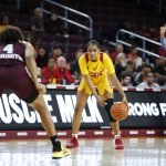 Desiree Caldwell sizes up the offense. Maria Noble/WomensHoopsWorld