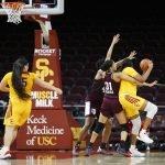 The Aggie defense locks down the Trojans. Maria Noble/WomensHoopsWorld