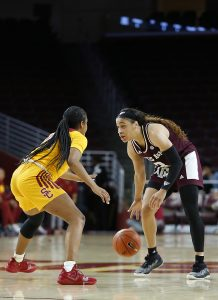 Chennedy Carter prepares to drive around her defender. Maria Noble/WomensHoopsWorld