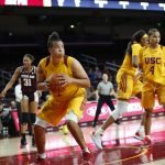 Kayla Overbeck looks for an outlet. Maria Noble/WomensHoopsWorld